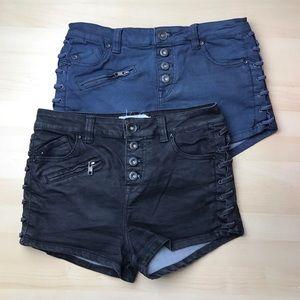 Free People Lone Ranger Button Up Denim Shorts